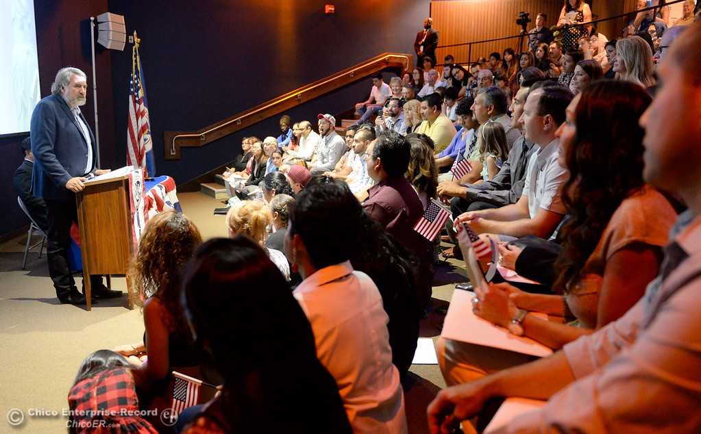 . Congressman Doug LaMalfa speaks as a group of approximately 40 new U.S. citizens receive their certifications of citizenship during a ceremony at the Oroville Visitors Center in Oroville, Calif. Friday July 20, 2018. (Bill Husa -- Enterprise-Record)