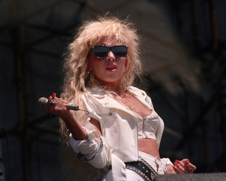 Dale Bozzio performing live onstage with Missing Persons at the Mountain Aire Festival at Angel's Camp, CA on July 20, 1986.