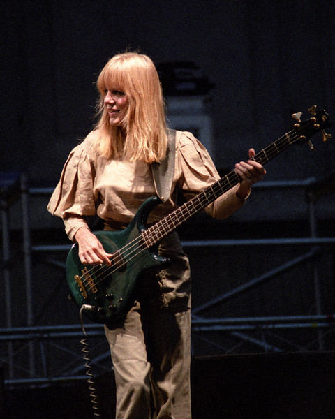 Tina Weymouth performs with the Talking Heads at the Greek Theater in Berkeley on September 4, 1983.