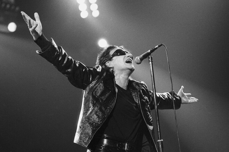 U2 performs at the Oakland Coliseum on April 17, 1992.