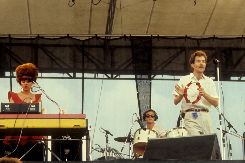 The B-52's performing at the Heatwave Festival at Mosport Park near Toronto on August 23rd, 1980. (L-R): Kate Pierson, Keith Strickland, Fred Schneider.