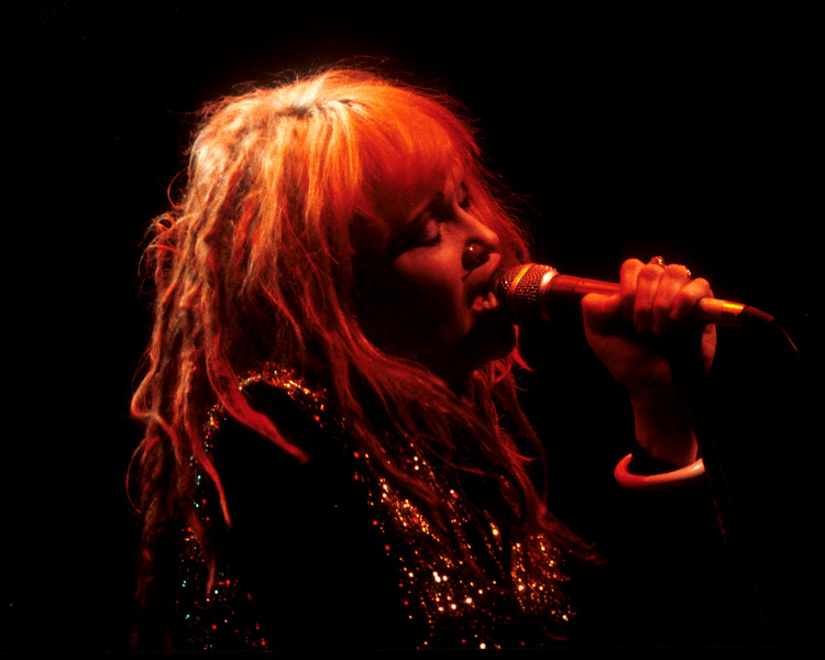 Exene Cervenka performing live on stage with X at the Kabuki Theatre in San Francisco on February 18, 1984.