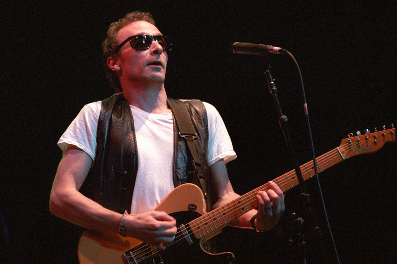 Graham Parker performing live onstage with the Dave Edmunds R&R Revue at the Warfield Theater in San Francisco on April 7, 1990.
