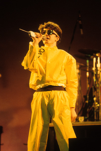 SAN FRANCISCO, CA-JUNE 29: Mark Mothersbaugh performing with Devo at the Warfield Theater in San Francisco on June 29, 1979. (Photo by Clayton Call/Redferns)
