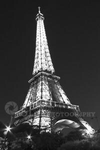 Eiffel Tower-night B&W Paris, France