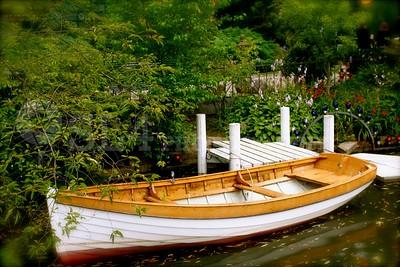 Row boat in the garden