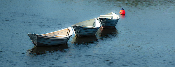 Sept 25 - Three In A Row<br /> <br /> three dinghies tied together in Kennebunkport, Maine