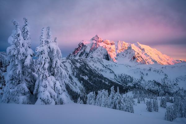 Sunset with fresh snow and Mt Shuksan - Washington