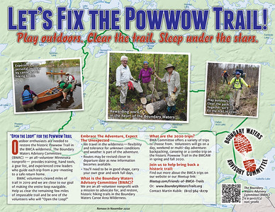 "Call to saws:  ""Let's Fix the Powwow Trail."""