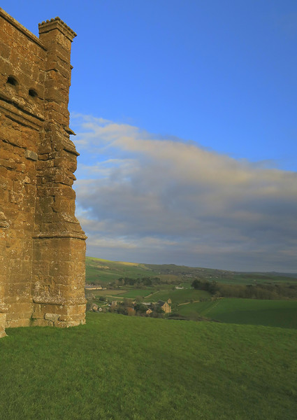 The view from Chapel Hill.   The large building in the village below is the medieval Tythe Barn.