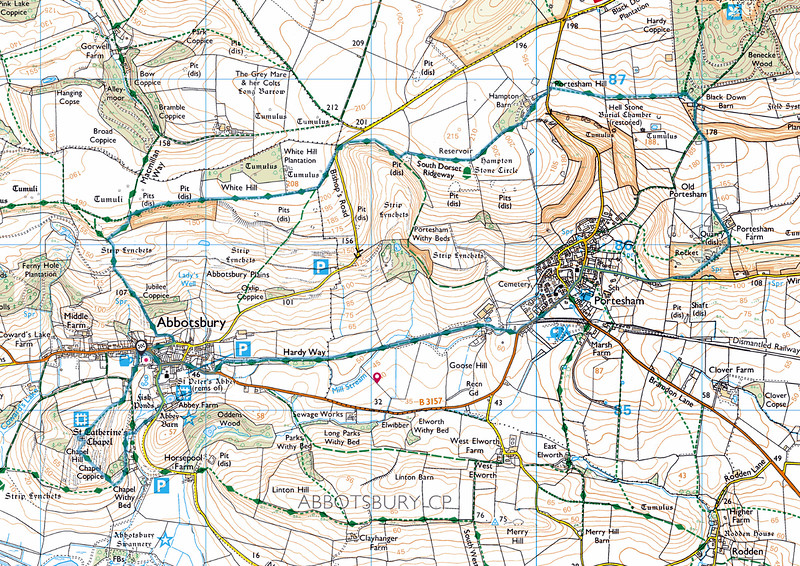 The map of the walk -  the large loop was walked in a clockwise direction while in the afternoon, after the pub lunch, we went anticlockwise.