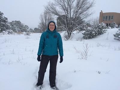 Mitzi snowshoeing in Jens & Kjirsten's backyard