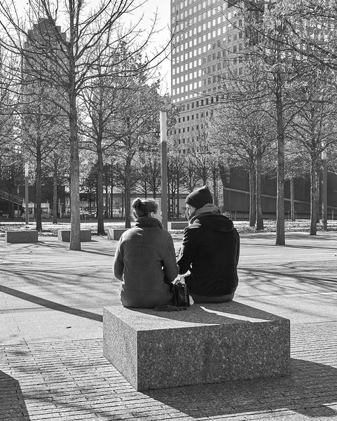 Quiet conversation near WTC memorial