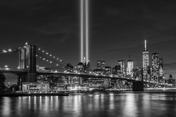 911 Memorial Lights  lighting up the heavens in rememberance