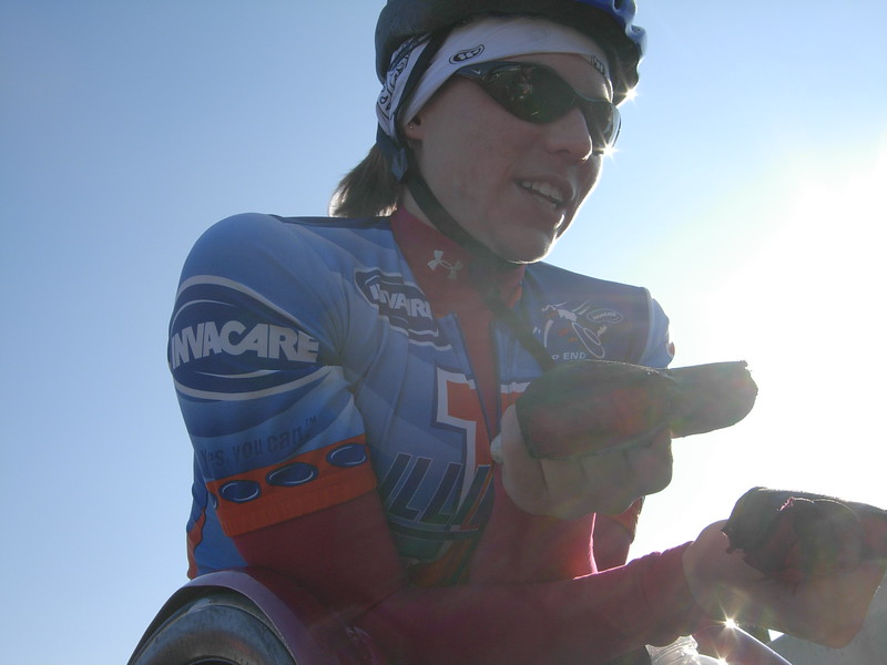 Defending champion Amanda McGrory explains here race techniques before the start. She finished third.