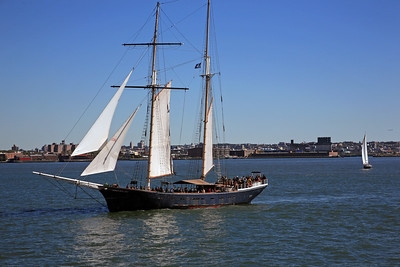The Schooner Pioneer Sailing Pas the Staten Island Ferry