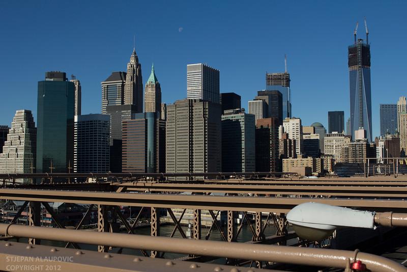 Looking onto Downtown Manhattan from Brooklyn Bridge (November 2012)
