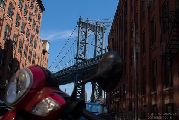 Manhattan Bridge with Street Scene