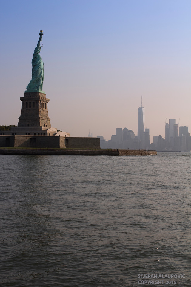 Statue of Liberty with Lower Manhattan Skyline