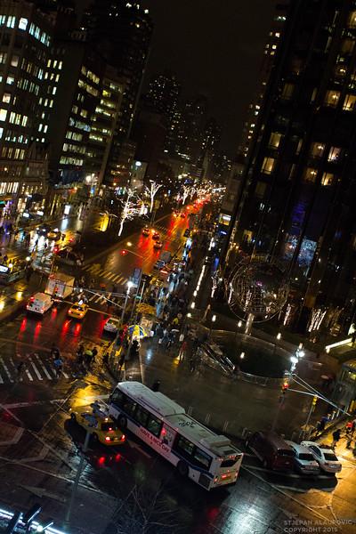 Nighttime Streetscape at Columbus Circle