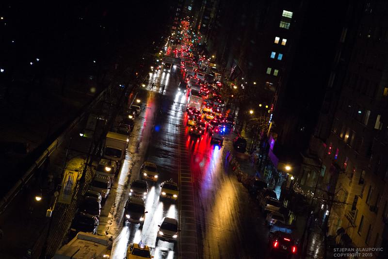 Nightime Streetscape near Columbus Circle