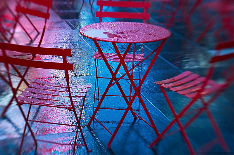 Rain, Rain Go Away!<br /> Chairs and tables in Times Square