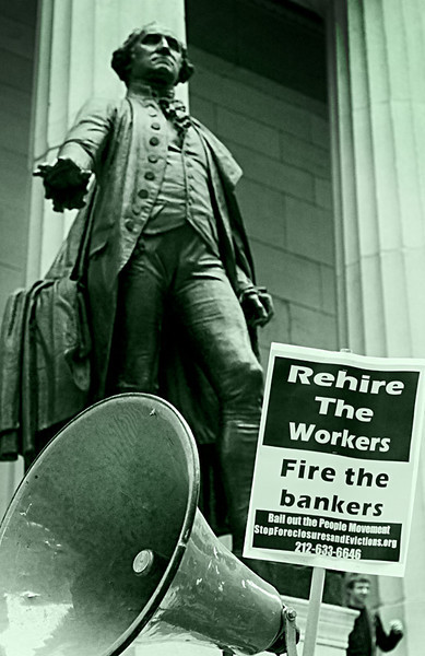 George Urges Calm<br /> Anti-Wall Street Protests <br /> in front of Federal Hall