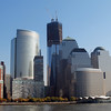 Rising WTC #1 and World Financial Center, ferry dock in foreground