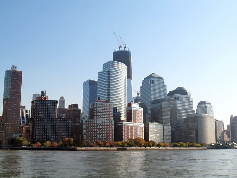 Battery Park City, World Financial Center with World Trade Center rising in background