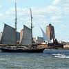 Sailing ship in harbor