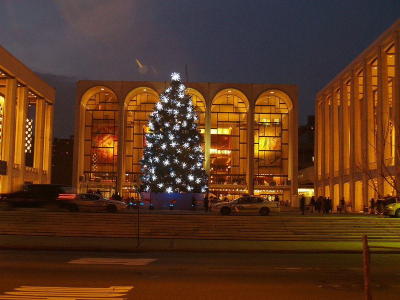 Lincoln Center Christmas tree. The lights at the base change color from blue to red to green.