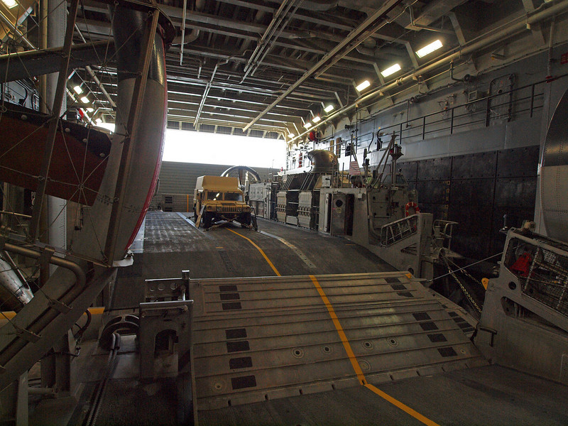 The deck had two very large hovercraft for transferring troops and gear to a beach. Each one is capable of transporting an Abrams tank.