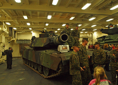 An Abrams tank in the hold.