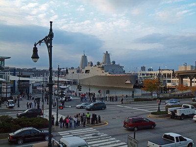 View from across the West Side Highway. The ship was docked at Pier 84 on 46th St.