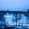 Frozen Harlem Meer at dusk