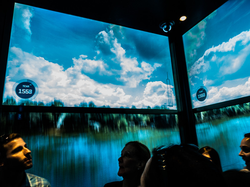"""The ride in the """"Sky Pod"""" elevator to the 100 Floor is highlighted by a video experience of the development of NYC from the 1558 to now."""