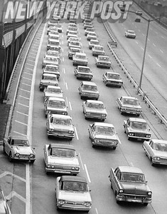 A 1966 view of traffic going into the Brooklyn-Battery tunnel. 1966