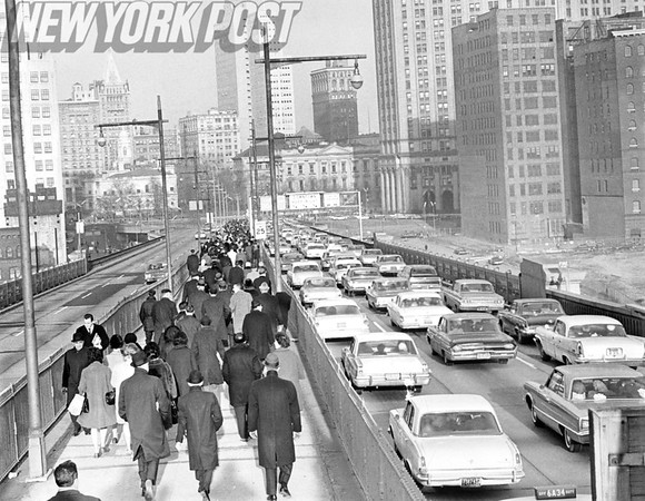 A view of the Brooklyn Bridge at the Manhattan end 1966.