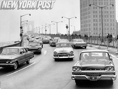 Traffic off of the Brooklyn Bridge. 1966