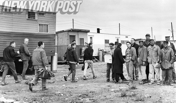 White Union Plumbers walk off the job and minority plumbers appear for work. 1964