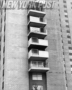 Strike banner on One of The Buildings of Co-Op City. 1975