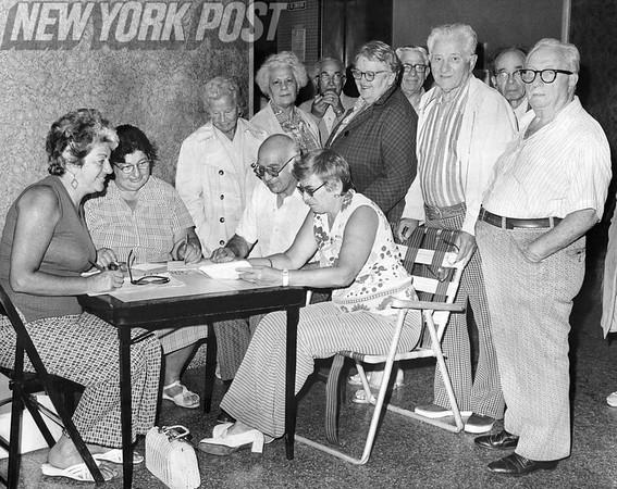 Tenants Gathering in Lobby of Co-Op City Building. 1975