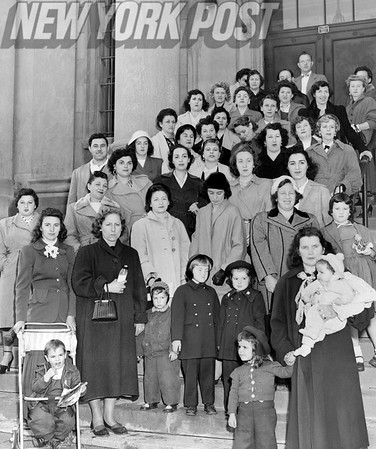 """Scene on the steps of the Bay Ridge Courthouse 1953 as these wives and children of veterans ask for a stay of eviction from their """"temporary"""" housing in Manhattan Beach and Marine Park in Brooklyn."""
