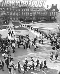 Brooklyn College student march through the Quadrangle protesting Police Brutality. 1967