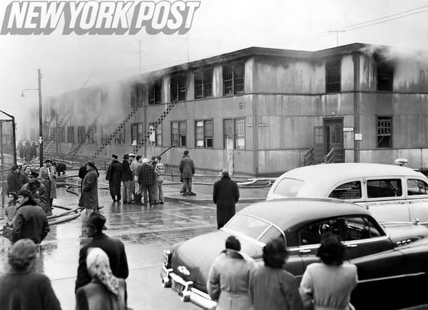Fire at the Manhattan Beach veteran housing project. 1952