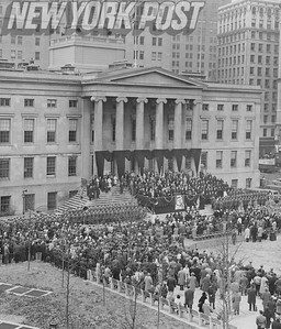 New York citizens gather at Brooklyn's Borough Hall to honor the late John F. Kennedy. 1963