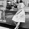 """Pin-Up Girl Poses Next to First-Class Seaman in his Classic """"Woodie"""" Station Wagon Print"""