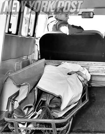 Sixth Body From Plane Crash Lies in Coast Guard Truck Waiting to be Driven to the Temporary morgue at Short Beach Coast Guard Station. 1965