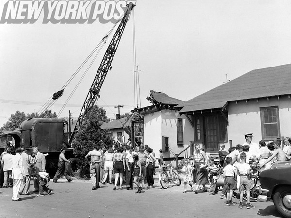 New York City Manhattan Beach- A protest to the demolition of temporary housing along Gaffrey Street, Brooklyn. 1953