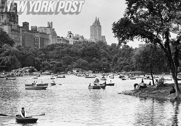 Boaters and Sunbathers Enjoy a Beautiful Afternoon in Central Park. 1968